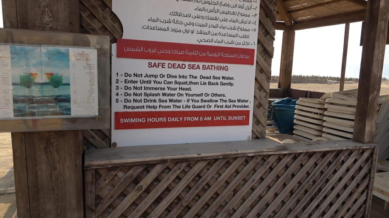 Normas de baño Mar Muerto