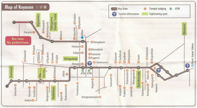 Mapa de paradas de bus en Koyasan