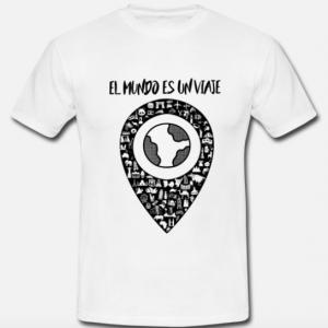 Camiseta-elmundoesunviaje-blanco-y-negro