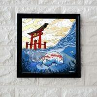 Ilustración torii japonés